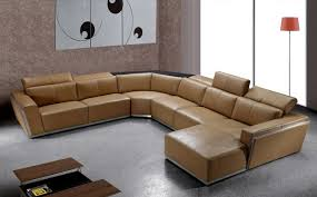 contemporary brown leather sectional