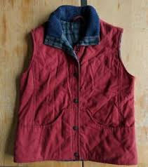 lambswool lined cotton red vest large