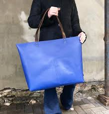 extra large blue leather tote bag 22x