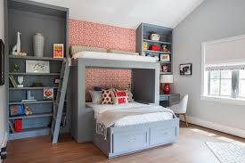 Gray And Red Boys Room With Custom Modern Bunkbeds And Bookshelves Hgtv