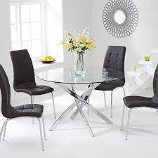 chrome and glass round dining table