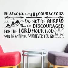 Amazon Com Wall Decals Joshua 1 9 Wall Decal Quote Be Strong And Courageous Quote Decal Wall Vinyl Sticker Nursery Decor Art Bible Verse Boy Room Wall Decor Made In Usa Kitchen Dining
