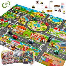 traffic car park mat play kids rug