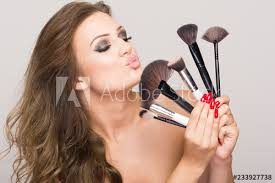 lover and makeup artist woman holding