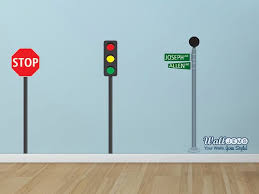 Street Signs Stop Sign Stop Light Wall Decal Set By By Walljems Street Signs Stop Light Wall Decals