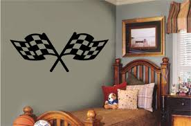Checkered Racing Flags Sports Decor Vinyl Decal Wall Sticker