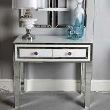 madison white glass mirrored 2 drawer