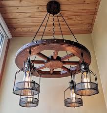 wagon wheel chandelier ceiling light