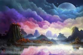 moon landscape painting wallpapers hd