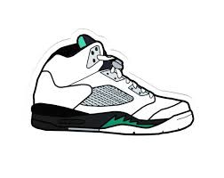1850 Nike Air Jordan 5 Shoes Box Cartoon 8 Cm Decal Sticker Decalstar Com Nike Air Jordan 5 Sneaker Art Shoes