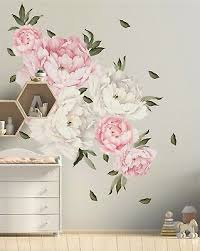 28 Piece Peony Flowers Wall Decal Set Floral Wall Sticker Bedroom Living Room Ebay