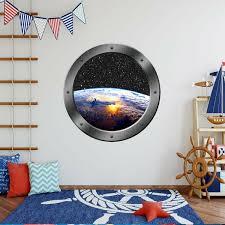 Zoomie Kids Stclair Planet Earth Space Window Porthole Framed Wall Decal Wayfair