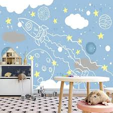 Best Discount 79f43d Custom Mural Cartoon Hand Painted Rocket Universe Starry Sky Children Boys Room Bedroom Background Wall Photo Wallpaper For Kids Cicig Co