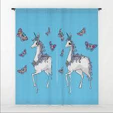 Unicorn Butterfly Tiffany Blue Cute Elegant Kids Bedroom Window Curtains