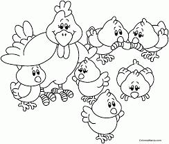 colorear gallinas con sus pollitos