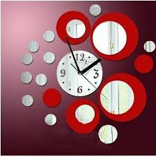 Pin By Anji On Favorite Color Red Mirror Wall Clock Wall Clock Modern Wall Clock