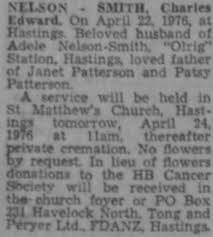 Charles Edward Nelson Smith Death Notice 1976 : Hawke's Bay ...