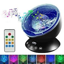 Night Light Upgraded Led Night Lights For Kids With Music Player Timer Ocean Wave Projector With Remote Easy Touch Mode Perfect For Babies Room And Bedroom 12 Led