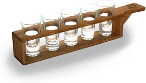 glass set in unique stylish oak wooden