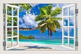 Removable Wall Sunshine Beach 3d Window View Art Sticker Vinyl Decal Mural Decor