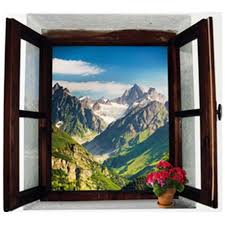 Endless Mountains Natural Scenery Fake 3d Window Wall Stickers Home Decoration Occident Style Adhesive Vinyl Wallpaper 70 50cm Wall Stickers Aliexpress