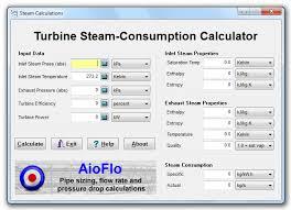 turbine steam consumption calculator