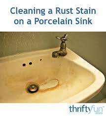 rust stain on a porcelain sink