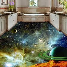 Pvc Self Adhesive Floor Mural Wallpaper Modern Universe Star Sky 3d Floor Tiles Sticker Kids Bedroom Kitchen Waterproof Frescoes Leather Bag