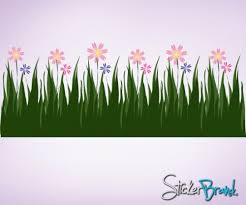Wall Decal Vinyl Sticker Grass Flower Field Ac104 Stickerbrand On Artfire