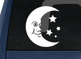 Moon Cartoon Crescent Face With Stars Car Tablet Vinyl Decal Ebay