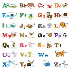 Amazon Com Decowall Dat 1308l Alphabet Abc And Animals Kids Wall Decals Wall Stickers Peel And Stick Removable Wall Stickers For Kids Nursery Bedroom Living Room Large Baby