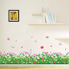 Amazon Com Amaom Removable Beautiful Nursery Pink Butterfly Flowers Baseboard Wall Decals Murals Home Art Decor Peel Stick Wall Stickers For Wall Corner Kids Room Bedroom Living Room Decorations Home Kitchen