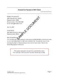 demand for payment of nsf check usa