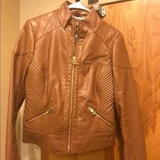 size medium womens brown leather jacket