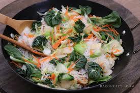 asian rice noodle vegetable stir fry