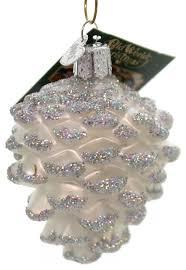 snowy cone glass ornament pine winter