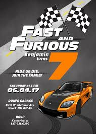 Race Car Fast And Furious Birthday Invitation Boy Birthday Etsy