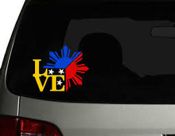 Filipino Vinyl Car Decal Sticker 4 75 Unique I Love Philippine Flag Design Rl Ebay