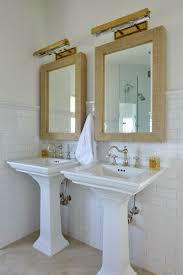 grasscloth mirror cottage bathroom