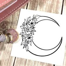 Floral Moon Vinyl Decal Malina Plans