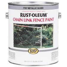 Rust Oleum Stops Rust 1 Gal Metallic Silver Oil Based Chain Link Fence Paint 2 Pack 7787402 The Home Depot