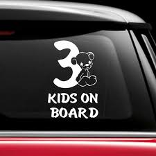 3 Kids On Board Car Sticker Decal Car Window Decal Baby Etsy