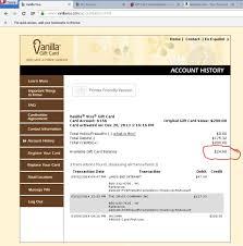 vanilla visa gift card balance check