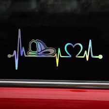 Car Sticker Vinyl 20 3cm 8 9cm Firefighter Fireman Helmet Heartbeat Lifeline Sticker On Car Funny Stickers 3d Decals Car Styling Car Stickers Aliexpress
