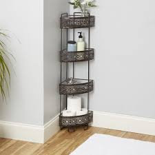 small bathroom corner shelf unit