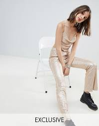 gold sequin one above another flares
