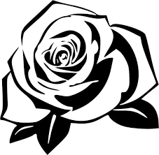 Rose 5 Vinyl Decal Vinyl Decal Black Silhouette Illustration Rose Stencil