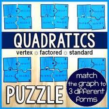 quadratics puzzle algebra activities