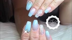 acrylic baby blue nails with crystal
