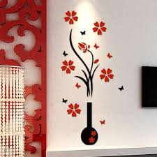 3d Plum Flower Vase Wall Stickers Acrylic Home Decor Wall Decal Red Floral Patterns Wall Stickers Wall Stickers Aliexpress
